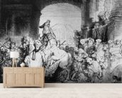 The Triumph of Mordecai, c.1640 (etching) (b/w photo) mural wallpaper living room preview