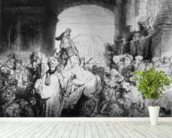 The Triumph of Mordecai, c.1640 (etching) (b/w photo) mural wallpaper in-room view