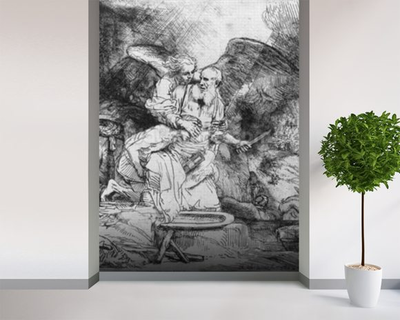 The Sacrifice of Abraham, 1645 (etching) (b/w photo) wall mural room setting
