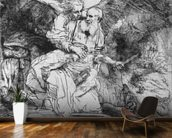 The Sacrifice of Abraham, 1645 (etching) (b/w photo) wall mural kitchen preview
