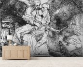 The Sacrifice of Abraham, 1645 (etching) (b/w photo) wall mural living room preview