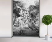 The Sacrifice of Abraham, 1645 (etching) (b/w photo) wall mural in-room view