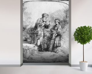 Abraham and Isaac, 1645 (etching) (b/w photo) wallpaper mural