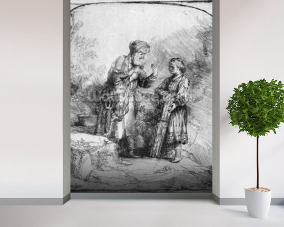 Abraham and Isaac, 1645 (etching) (b/w photo) wallpaper mural room setting