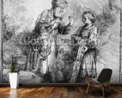 Abraham and Isaac, 1645 (etching) (b/w photo) wallpaper mural kitchen preview