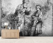 Abraham and Isaac, 1645 (etching) (b/w photo) wallpaper mural living room preview