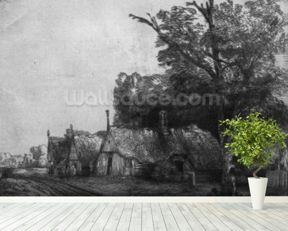 Landscape with Three Cottages, 1650 (etching) (b/w photo) mural wallpaper room setting