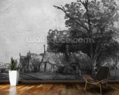 Landscape with Three Cottages, 1650 (etching) (b/w photo) mural wallpaper kitchen preview