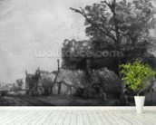 Landscape with Three Cottages, 1650 (etching) (b/w photo) mural wallpaper in-room view