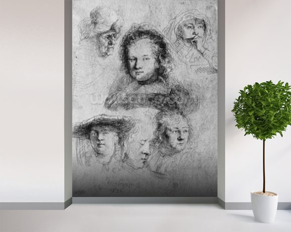 Six heads with Saskia van Uylenburgh (1612-42) in the centre, 1636 (etching) (b/w photo) wall mural room setting