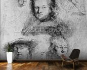 Six heads with Saskia van Uylenburgh (1612-42) in the centre, 1636 (etching) (b/w photo) wall mural kitchen preview