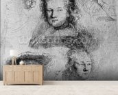 Six heads with Saskia van Uylenburgh (1612-42) in the centre, 1636 (etching) (b/w photo) wall mural living room preview