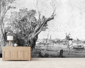 View of Omval, near Amsterdam, 1645 (etching) (b/w photo) wall mural living room preview