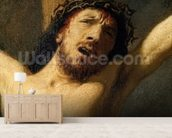 Christ on the Cross, detail of the head (oil on canvas) (detail of 154029) mural wallpaper living room preview