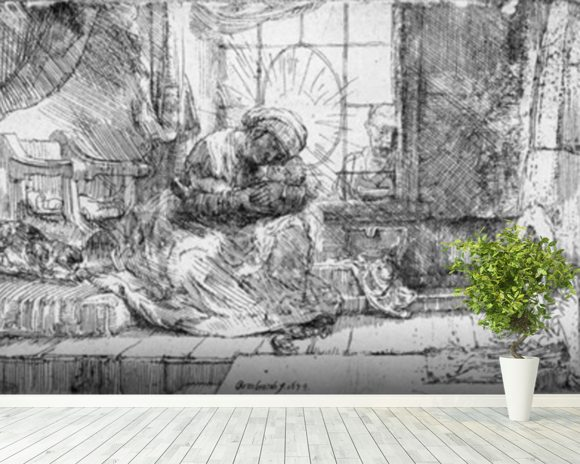 The Holy Family with a cat, 1654 (etching) (b/w photo) wall mural room setting