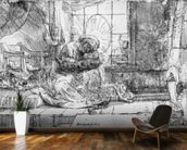 The Holy Family with a cat, 1654 (etching) (b/w photo) wall mural kitchen preview