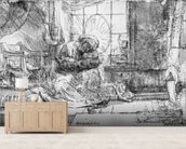 The Holy Family with a cat, 1654 (etching) (b/w photo) wall mural living room preview