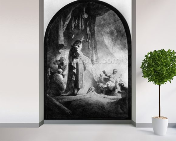 The Great Raising of Lazarus (etching) (b/w photo) wallpaper mural room setting