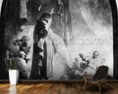 The Great Raising of Lazarus (etching) (b/w photo) wallpaper mural kitchen preview