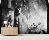 The Great Raising of Lazarus (etching) (b/w photo) wallpaper mural living room preview