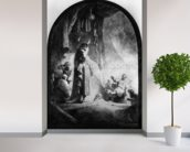 The Great Raising of Lazarus (etching) (b/w photo) wallpaper mural in-room view