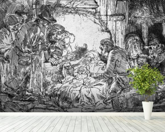 Nativity, 1654 (etching) (b/w photo) mural wallpaper room setting