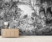 Nativity, 1654 (etching) (b/w photo) mural wallpaper living room preview