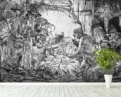 Nativity, 1654 (etching) (b/w photo) mural wallpaper in-room view