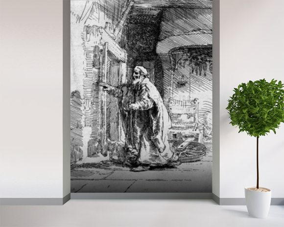 The blind Tobit, 1651 (etching) (b/w photo) wall mural room setting