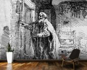 The blind Tobit, 1651 (etching) (b/w photo) wall mural kitchen preview