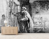 The blind Tobit, 1651 (etching) (b/w photo) wall mural living room preview