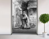 The blind Tobit, 1651 (etching) (b/w photo) wall mural in-room view