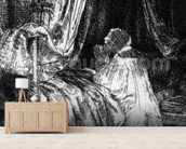 King David at prayer, 1652 (etching) (b/w photo) wallpaper mural living room preview