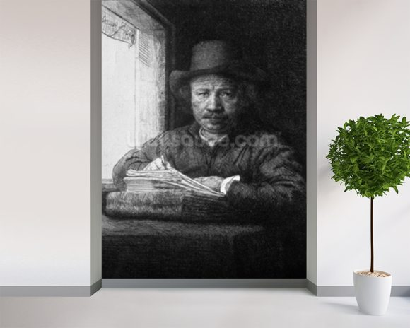 Self portrait while drawing, 1648 (etching) (b/w photo) mural wallpaper room setting