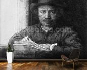 Self portrait while drawing, 1648 (etching) (b/w photo) mural wallpaper kitchen preview