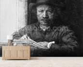 Self portrait while drawing, 1648 (etching) (b/w photo) mural wallpaper living room preview
