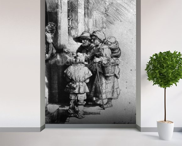 Beggars on the Doorstep of a House, 1648 (etching) (b/w photo) wall mural room setting