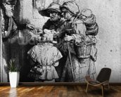 Beggars on the Doorstep of a House, 1648 (etching) (b/w photo) wall mural kitchen preview