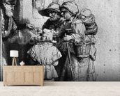 Beggars on the Doorstep of a House, 1648 (etching) (b/w photo) wall mural living room preview