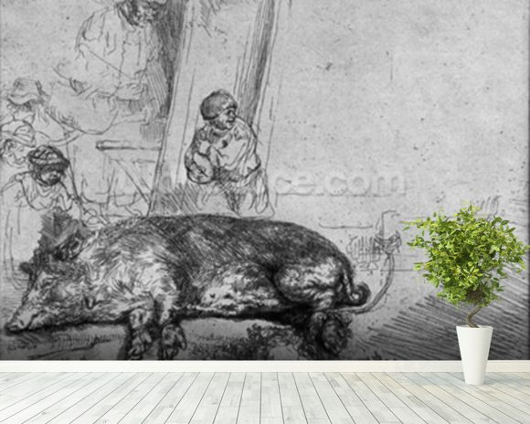 The Sow, 1643 (etching) (b/w photo) wallpaper mural room setting