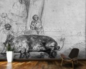 The Sow, 1643 (etching) (b/w photo) wallpaper mural kitchen preview