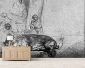 The Sow, 1643 (etching) (b/w photo) wallpaper mural living room preview