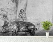 The Sow, 1643 (etching) (b/w photo) wallpaper mural in-room view
