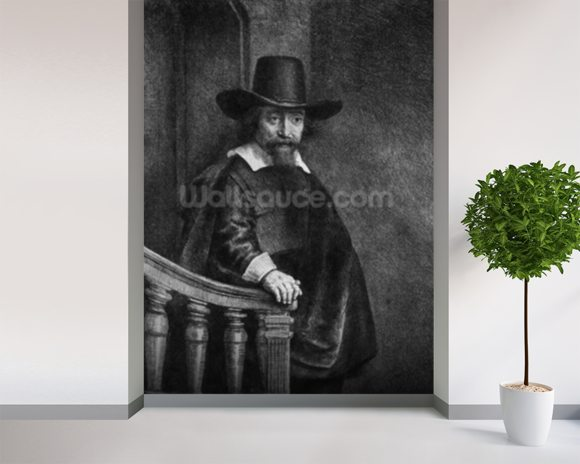 Ephraim Bonus, known as The Jew with the Banister 1647 (etching) (b/w photo) mural wallpaper room setting