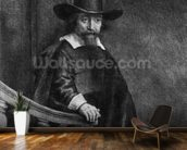 Ephraim Bonus, known as The Jew with the Banister 1647 (etching) (b/w photo) mural wallpaper kitchen preview