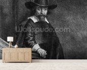 Ephraim Bonus, known as The Jew with the Banister 1647 (etching) (b/w photo) mural wallpaper living room preview