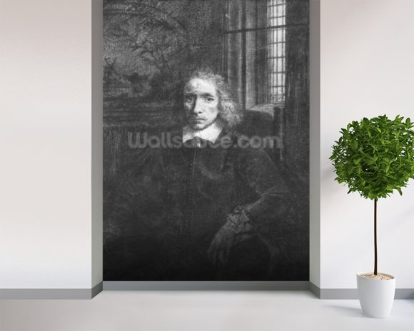 Thomas Jacobsz Haaring the Younger, 1656 (etching) (b/w photo) wallpaper mural room setting