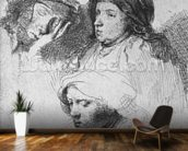 Three female heads with one sleeping, 1637 (etching) (b/w photo) wall mural kitchen preview