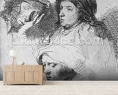 Three female heads with one sleeping, 1637 (etching) (b/w photo) wall mural living room preview