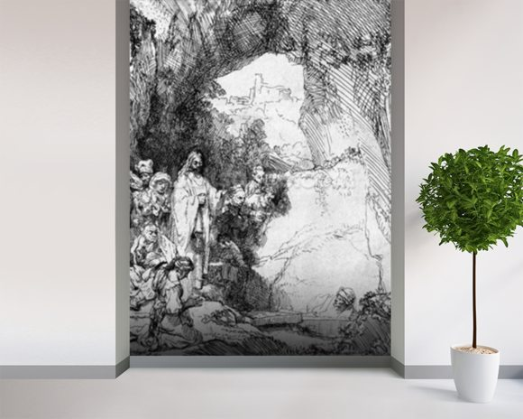 The Small Raising of Lazarus, 1644 (etching) (b/w photo) mural wallpaper room setting